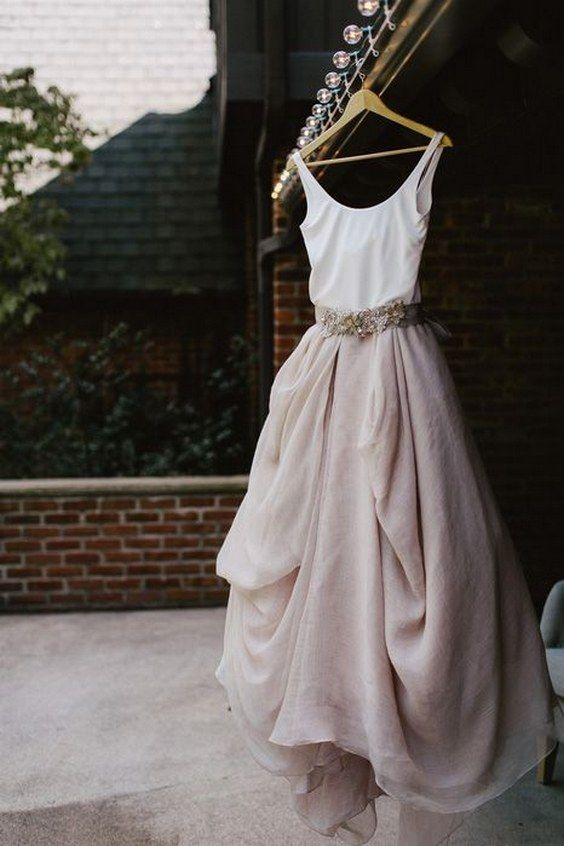 nude and ivory two toned wedding dress / http://www.himisspuff.com/colorful-non-white-wedding-dresses/9/