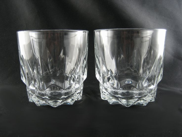Vintage Pair Arcoroc Clear Tempered Glass Double Rocks Old