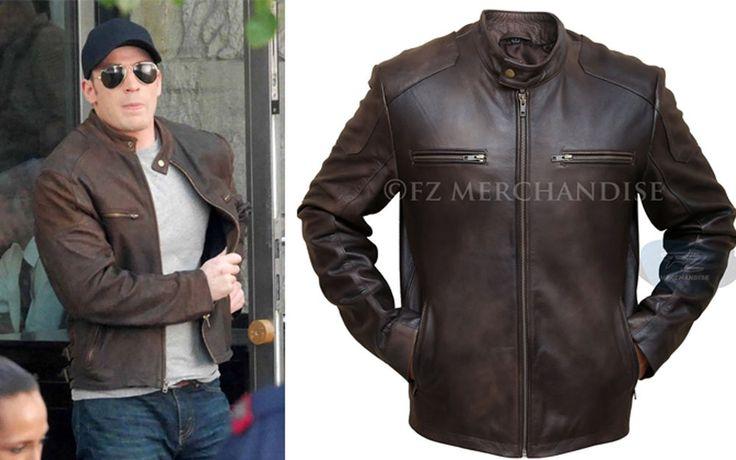 Captain America Civil War Steve Rogers Brown Distressed Cowhide Leather Jacket #FZ #Motorcycle