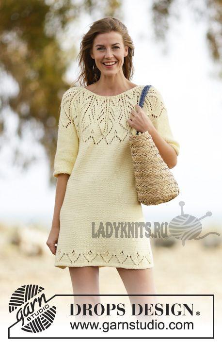 Платье спицами с ажурной кокеткой Vanilla Summer(«Ванильное лето») от DROPS