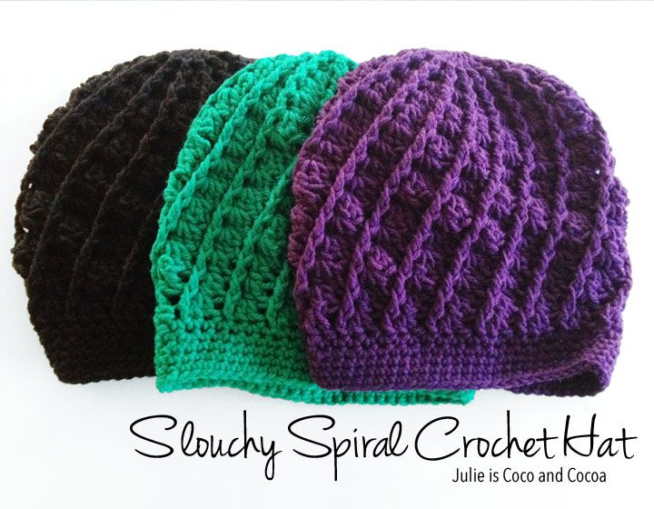 Free pattern to make your own Slouchy Spiral Crochet Hat! It will soon become your favorite fall accessory. You'll want to make one in every color!