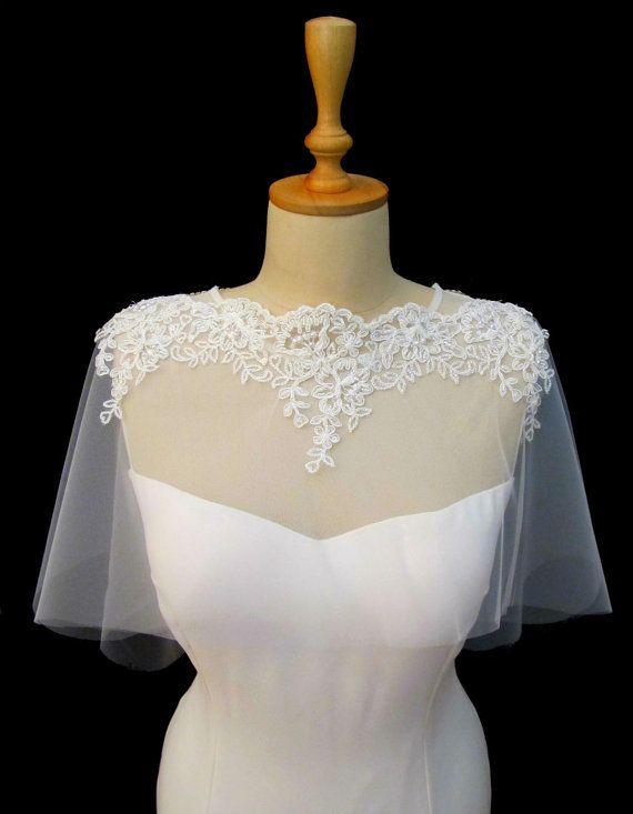 Wedding Tulle Cape Bolero Ivory Lace Bridal Cape Shawl by gebridal