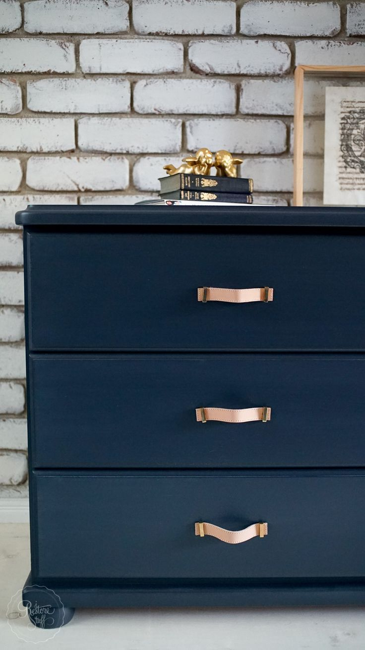 Midnight Blue Dresser Drawer Set Faux Leather Handles