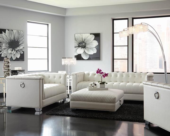 Chaviano Pearl White 4 Pieces Sofa Set Flatfair Modern Furniture Living Room White Living Room Set White Furniture Living Room