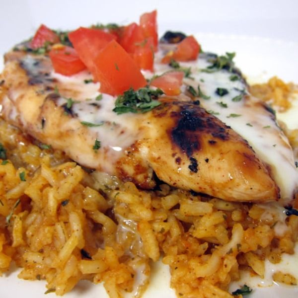 Pollo Loco - Mexican Chicken and Rice (marinated grilled chicken served over yummy rice: I want to try substituting shrimp, too!)
