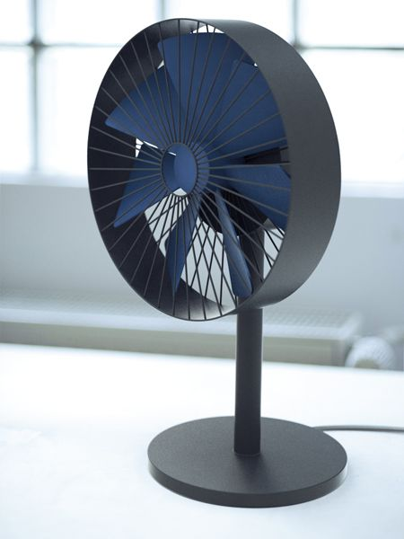 Gerhardt Kellermann - Fan Simple air ventilator. Increase or decrease speed by moving your fingers along the fan neck. Cable wrap in the bottom of the base.