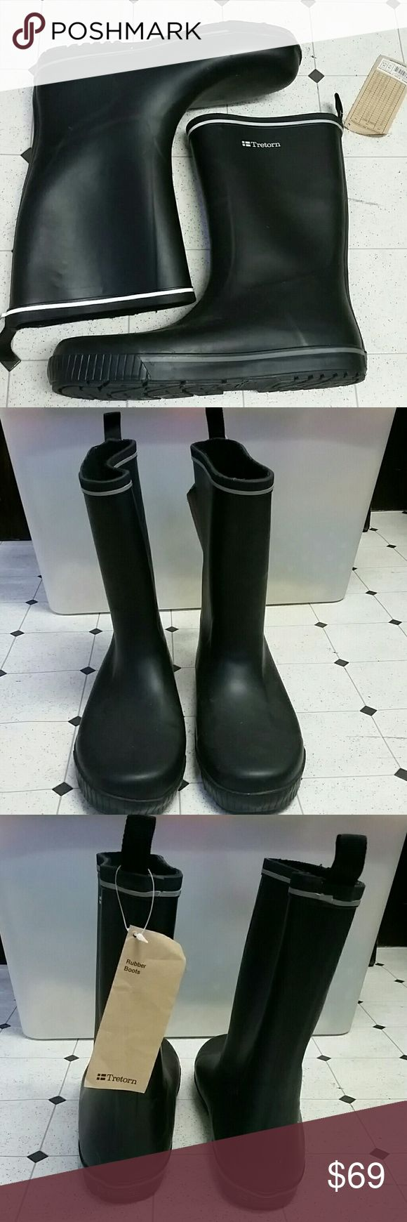 NWT Brand NEW Tretorn Rubber Boots Size 11 NWT Brand NEW Tretorn Rubber Boots Size 11.. for women it's a size 12.5 as shown on label. Phantom Black Color. Tretorn Shoes Winter & Rain Boots