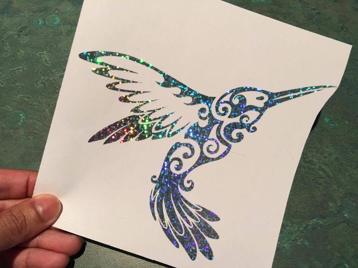 Humming Bird Tribal Silver Glitter Holographic Vinyl Decal Sticker Car Window                                                                                                                                                      More