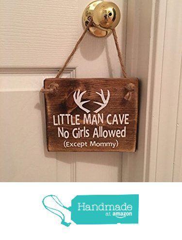 """Adorable Rustic """"Little Man Cave"""" With Antlers Wooden Door Sign Signs / Door…"""