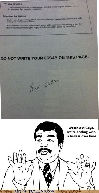 Funny student answer - Do not write below this essay. # sassy