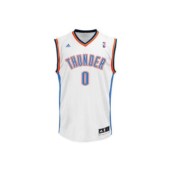 Mens Oklahoma City Thunder Russell Westbrook adidas White Replica Home... ❤ liked on Polyvore featuring men's fashion, men's clothing, men's apparel, mens jerseys and mens clothing