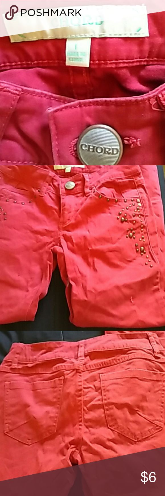 Chord jeans in rusty red Size 1. Zippers at ankle chord Jeans Skinny
