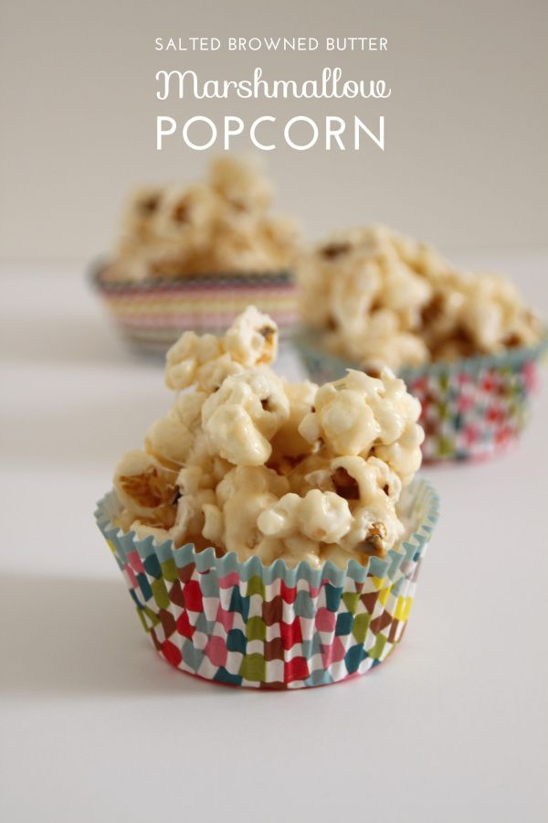 Salted Brown Butter Marshmallow Popcorn is perfect for movie night.