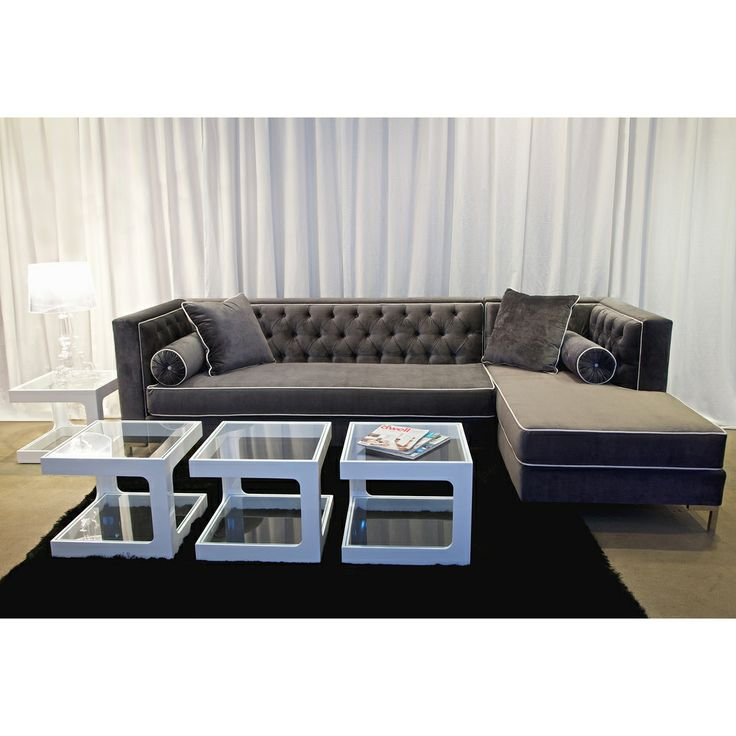 Decenni Custom Furniture u0027Tobiasu0027 Grey Sectional | Overstock.com  sc 1 st  Pinterest : firm sectional sofa - Sectionals, Sofas & Couches