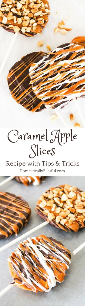 Caramel Apple Slices recipe with tips and tricks by Domestically Blissful. Recipe at @blissfulmiller.