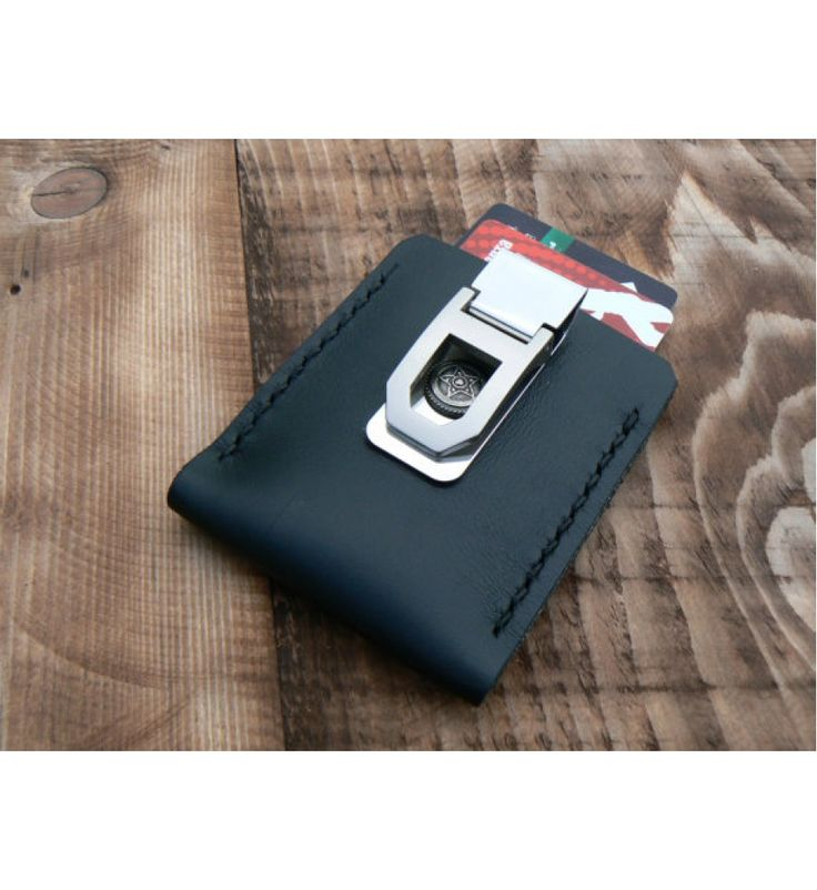 Black flip clip wallet leather