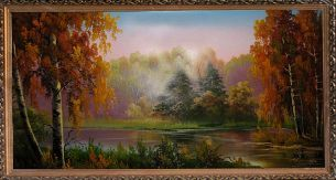 Утро в осеннем лесу - Осенний пейзаж <- Картины маслом <- Картины - Каталог   Универсальный интернет-магазин подарков и сувениров