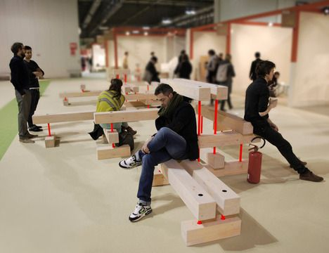 Ligita Breges MEET ME! is a modular public seating system with different levels and functions that can be customized for the space it occupies //