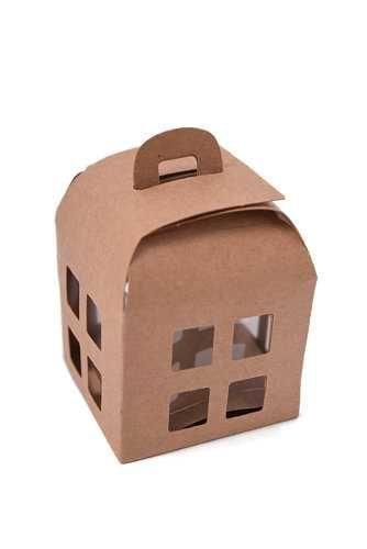 Geschenkdoos Huisje Naturel & Koord 55x55x55mm 10stuks, Karton 300gram, Met PVC transparant venster voor de raampjes</br><STRONG> prijs per 10 stuks, </STRONG>  afmeting BxDxH