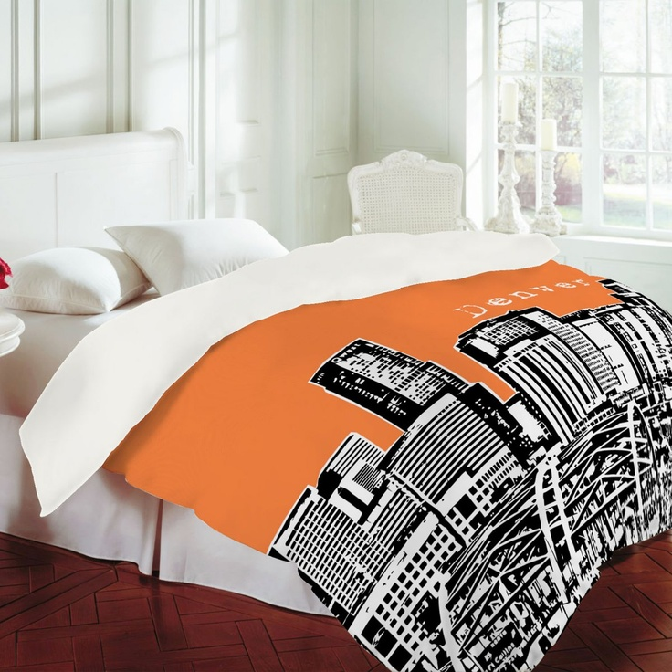 DENY Designs Bird Ave Denver Orange Duvet Cover