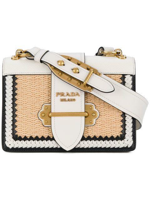 205558c5fef5 Prada White Cahier Raffia Shoulder Bag - Farfetch