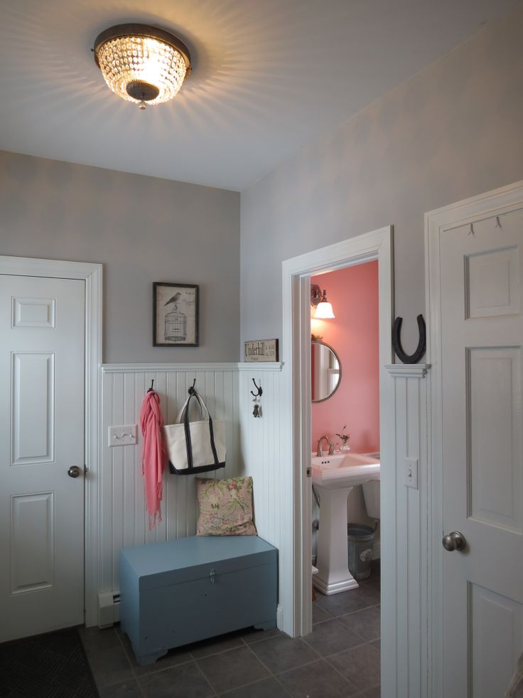 New mudroom and bath colors smoke embers and cool lava for Benjamin moore smoke embers
