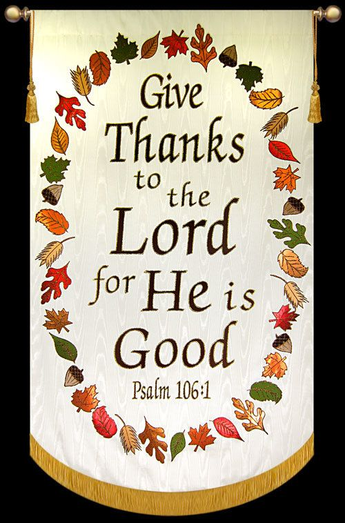 Thanksgiving Church Banner | Give Thanks to the Lord for He is Good - Cream, with Wreath