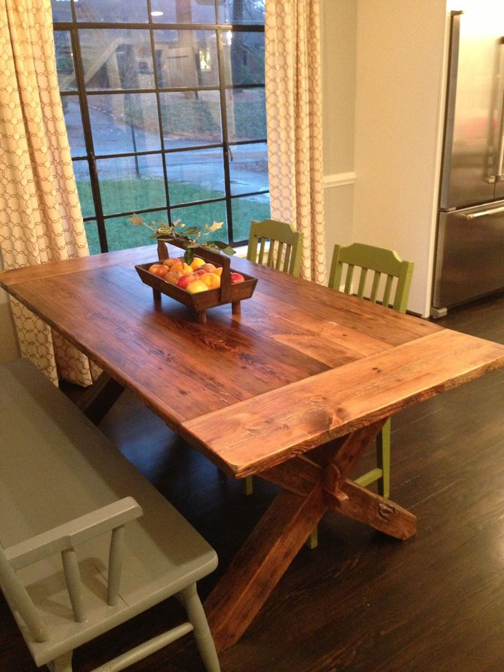 Custom, Reclaimed Wood Cross Leg Trestle Table Built By Concepts Created In  Staunton, VA