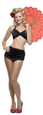 Vintage Swimsuit 50's Style Solid Black Bikini - 6 - 16