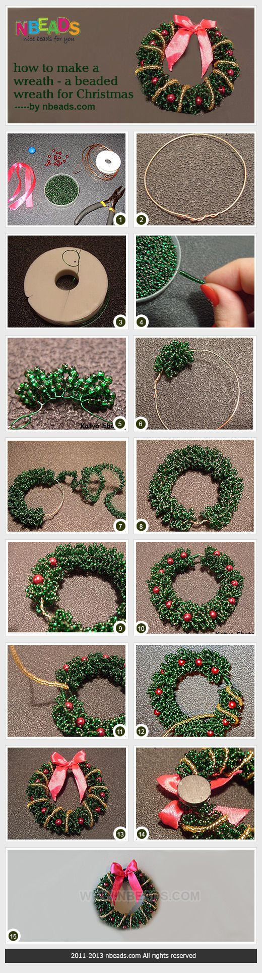 Beaded Wreath for Christmas • How to make : see images