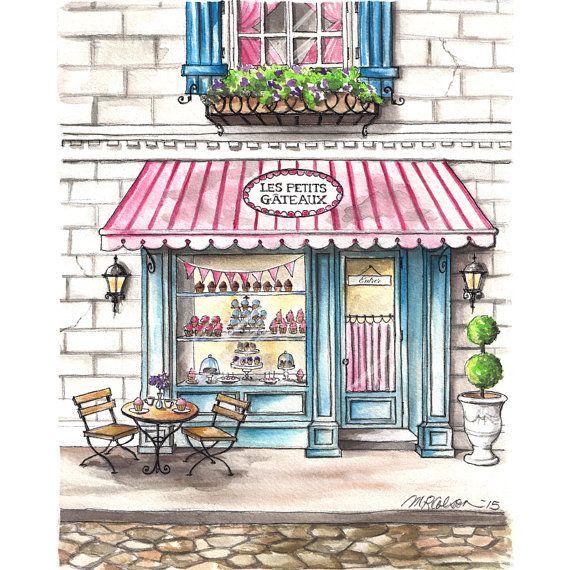 Les Petits Gâteaux Bakery Watercolor Print by MelissaColsonStudio