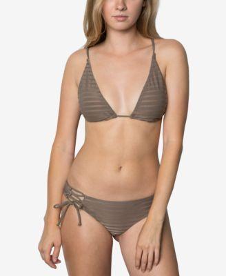 O'Neill Adely Tall Striped Triangle Bikini Top - Tan/Beige XL