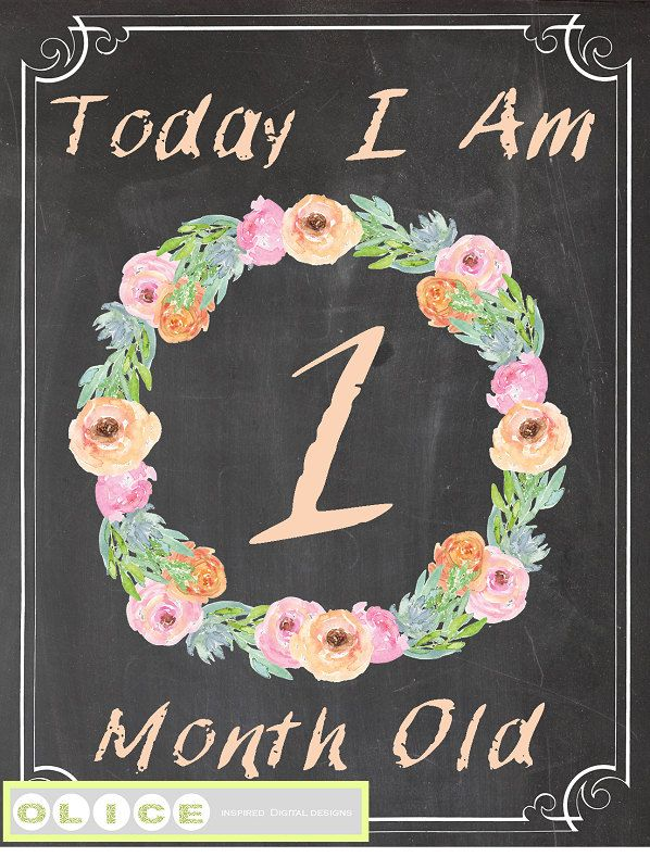 Baby milestone, Month by Month Photo Prop - Printable Months - Baby Month by Month -  Baby Age Sign - Monthly Photo Prop - chalkboard sign by Olice on Etsy