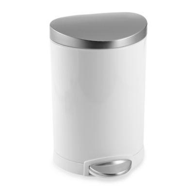 simplehuman® Fingerprint Proof White and Steel 6-Liter Semi-Round Step Can - BedBathandBeyond.com