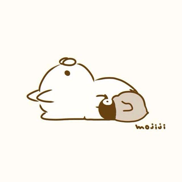 """1,187 """"Μου αρέσει!"""", 8 σχόλια - もじじ (@mojiji2014) στο Instagram: """"おきたら ゆうがた そんなひでも まっいっか #ねこぺん#イラスト#絵#ぺんぎん#猫"""""""