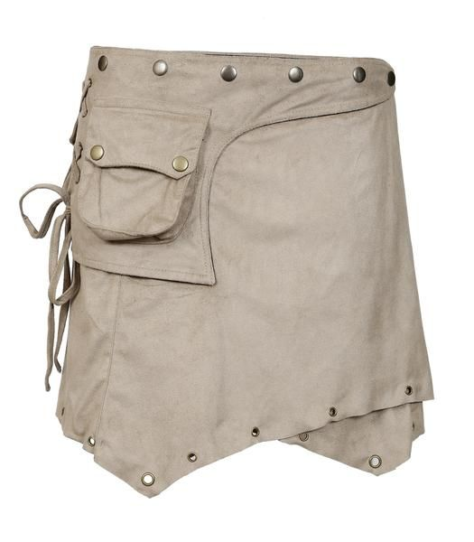 Ladies Suede Mini Skirt. Wrap around Style with Button Closure Design