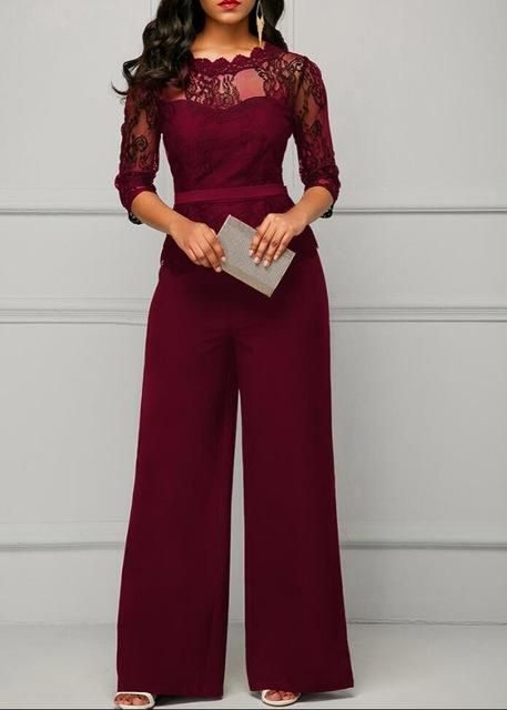 f3b56a93e61b New Casual Elegant Lace Women Jumpsuits Wide Leg Long Sleeve Hollow Out  Slim Work Office Rompers