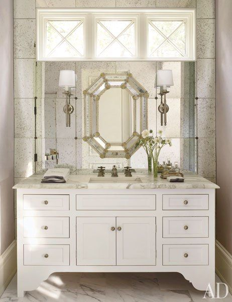 Antiqued mirror tiles on the wall behind the vanity - Antique traditional bathroom vanities design ...
