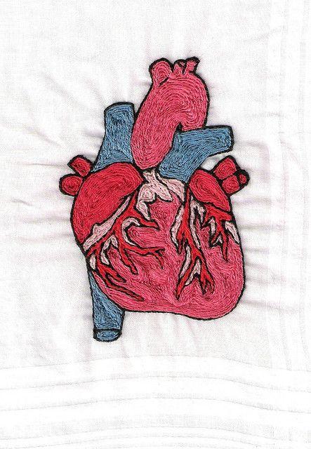 Anatomical heart embroidery by Sheena Ramone