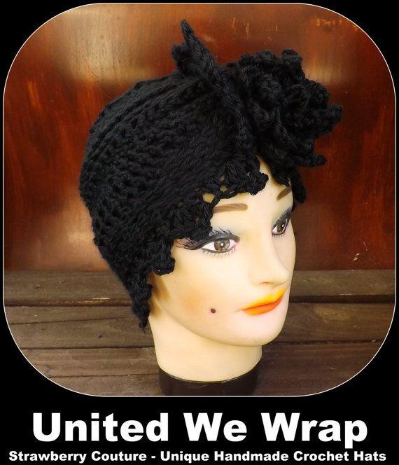 Click #strawberrycouture Black Crochet Hat Womens Hat Trendy Womens Crochet Hat Womens Turban Hat Crochet Flower Black Hat Alejandra Turban Hat Crochet Hat by strawberrycouture