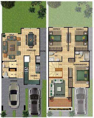 Planos de casa de 141m2 para un terreno de 133 metros for Decoracion casa 90m2