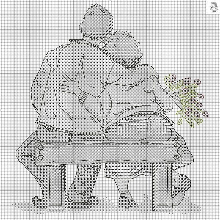 old couple on bench 2/3
