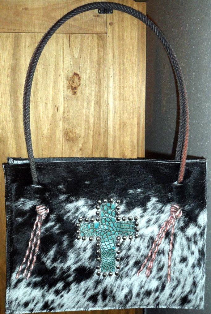 Western Cowhide Purse Turquoise Cross Lariat Rope Handle Purse Handbag