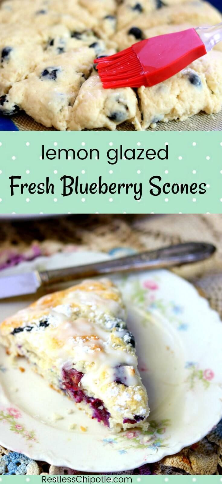 These easy lemon blueberry scones with their tangy lemon glaze taste just like a bite of summer - this recipe is a family favorite. Lots of plump, ripe blueberries are enveloped in a buttery, flaky dough with just a hint of lemon. Hints for making perfect scones included! from RestlessChipotle.com #BlueberryScones #blueberrysconesrecipe #lemonblueberryscones via @Marye at Restless Chipotle