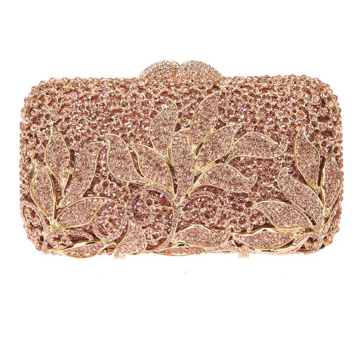 Fawziya Rhinestone Floral Clutch Bags For Womens Purses And Handbags-Rose gold
