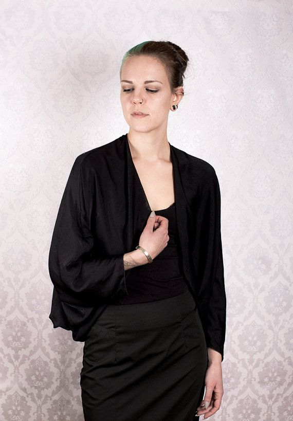 Black Flowy Satin Bolero by KitsuneCoutureFI on Etsy