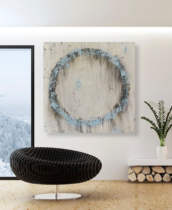 Original Blue Abstract Circle Painting - Large Neutral Toned Textured Wall Art on Etsy, $355.00