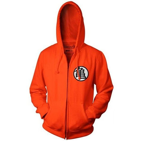 CosplaySky Dragon Ball Z Goku Kame Symbol Orange Zip-Up Adult Hoodie ❤ liked on Polyvore featuring tops, hoodies, orange hoodies, orange zip up hoodie, zip up hoodie, orange hoodie and red zip up hoodies