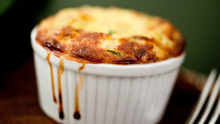 French Zucchini Souffle. Butter, olive oil, onion, garlic, eggs, Gruyere cheese. Gluten free. Vegetarian. NY Times