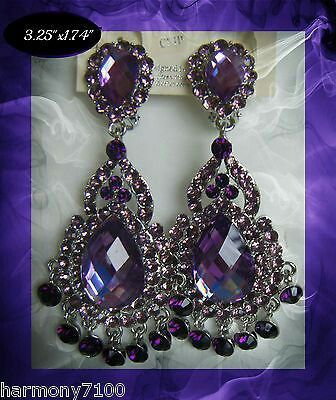 Purple Crystal Clip On Chandelier Earrings Drag Queen Pageant Bridal Posh